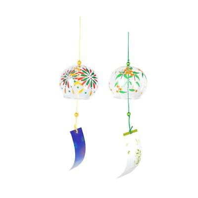 2x Japanese Glass Wind Chime Bell Hanging Ornament Gift Home Window Decor #5
