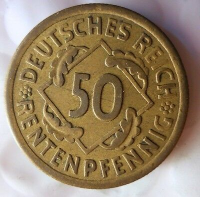 1924 WEIMAR GERMANY 50 RENTENPFENNIG - Rare Type Strong Grade Coin - Lot #J19