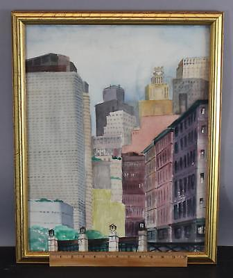 Vintage Mid-Century Cityscape NYC Skyscraper Building  Watercolor Painting