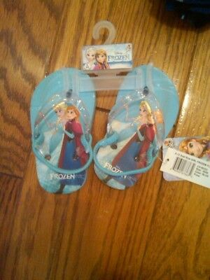 Nwt Toddler Girls Frozen Flip Flops Blue With Sparkly Straps Size Small 5-6 Cute