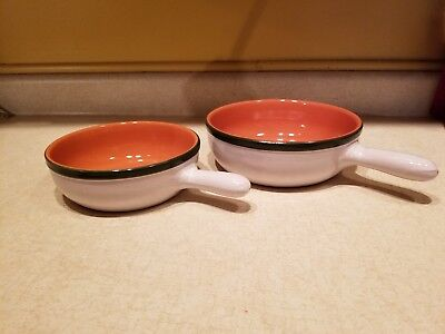"""2 Unused Vintage Albisola Coop Stov Pottery Pans #21 8"""" & #18 7"""" Made in Italy"""