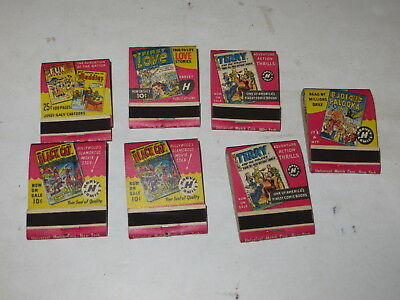 % Lot Of 7 Vintage Comic Matchbooks Black Cat, First Love, Terry Joe Palooka %