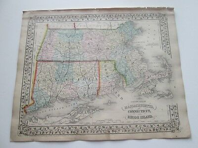 1871 ANTIQUE MAP of MASS. CONNECTICUT, RHODE ISLAND  by S. AUGUSTUS MITCHELL