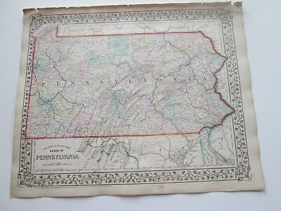 1871 ANTIQUE MAP of PENNSYLVANIA  by S. AUGUSTUS MITCHELL