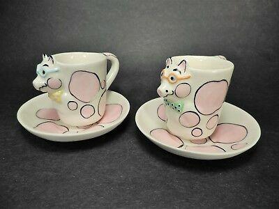 """pair TOM HATTON DEMITASSE / ESPRESSO """"PIGS WITH GLASSES & BOWTIES"""" CUPS & SAUCER"""