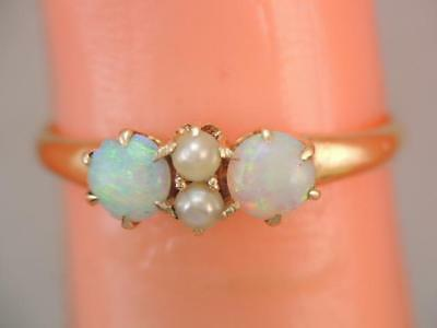 Antique Victorian 14K Gold Opal & Seed Pearl Ring 2 Colorful Opals Sz 5 3/4.