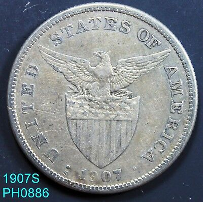 PHILIPPINES Peso 1907-S circulated silver coin