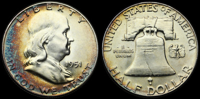 Franklin Half Dollar 50c, 1951, Gem BU Uncirculated, Beautifully Toned, color!