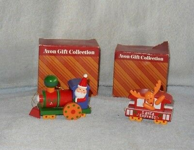 2 Avon Christmas Train Cars Engine & Caboose in Box