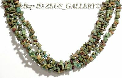 Ancient EGYPTIAN Rare Double pierced Glazed Faience Beas Necklace 4 Strands / 1