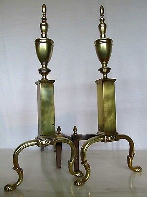 """Pair Vintage Antique Brass Finial Urn Andirons Fire Dogs - 20 1/4"""" Tall"""