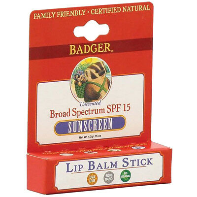 Badger All-Natural Unscented Broad Spectrum SPF 15 Sunscreen Lip Balm