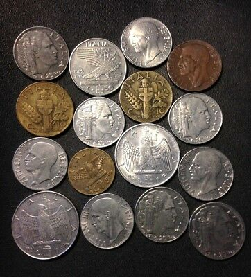 OLD ITALY COIN LOT - Fascist Mussolini Era - 16 High Grade Coins - Lot #J20