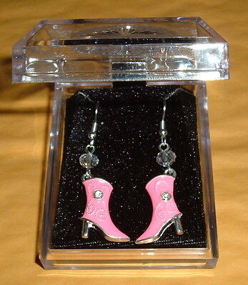PINK COWGIRL BOOT EARRINGS NIB VALENTINES  Cowboy Horse Crystal Silver  plated