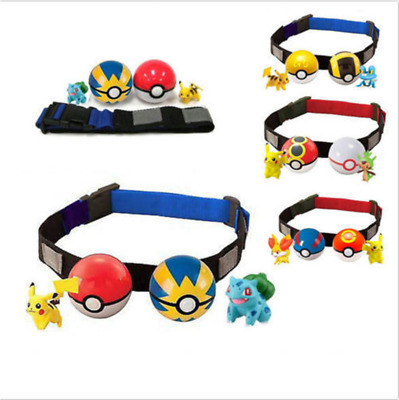 Cute Pokemon Clip on Carry Kids Adjustable Poke Ball Belt Pretend Play Game Toy