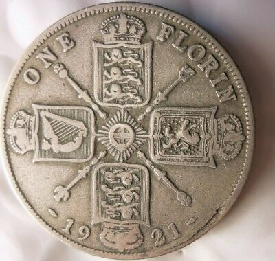 1921 GREAT BRITAIN FLORIN - High Value Scarce Silver Coin - Lot #J20