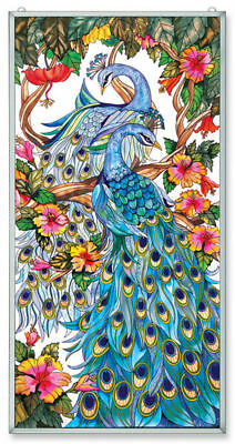 """Amia Stained Glass 20"""" X 40"""" Peacock Window Panel   9711"""