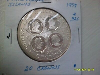 Turks & Caicos Islands Large Silver Proof Coin .925 1977 (dollar Size) KM18