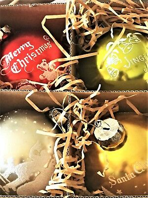 Bethany Lowe Christmas Tree Large Round Bulb Ornament Boxed Set Lot of 4 w Mica