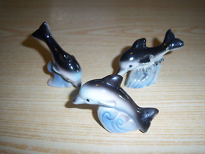 Porcelain Swimming Dolphins - Set of 3 - 2 1/2 Inch