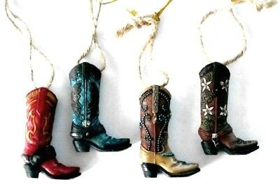 Western Christmas Ornaments - Brightly Colored Cowboy Boots - Set of 4 - New