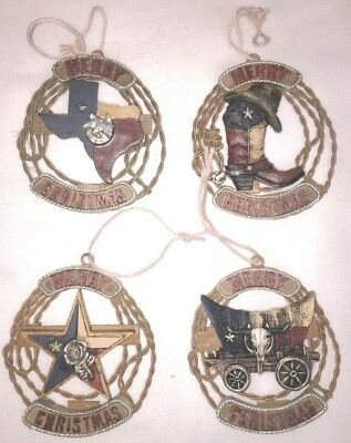 Western Texas Theme Rope Wreath Christmas Ornament - Set of 4 - New