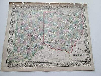 1871 ANTIQUE MAP OF OHIO AND INDIANA by S. AUGUSTUS MITCHELL
