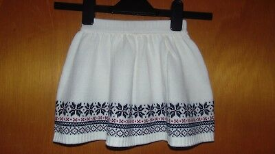 Cotton Rich Knitted Flared Fair Isle Snowflakes Skirt 3-4y 104cm White Mix BNWoT