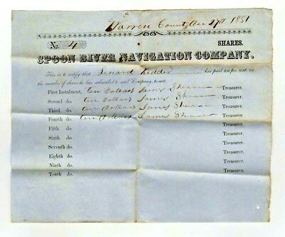 1851 Stock Certificate Owned by Warren Co. Illinois, Spoon River Navigation Co.