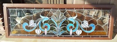 "Old LARGE 22"" x 64"" Antique STAINED & SLAG GLASS JEWELED WINDOW Wooden Frame"