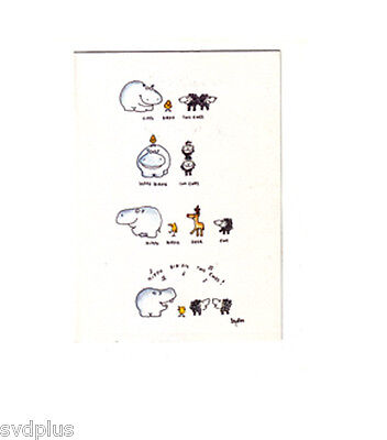 NEW UNUSED NOS Boynton vintage greeting card hippo birdies two ewes birthday