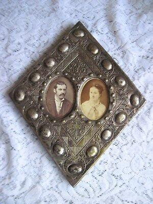 Exquisite Antique Victorian Hand Carved Double Tin Frame~Dated 1876~Fine Detail