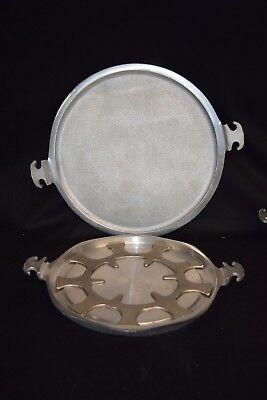 """VINTAGE GUARDIAN SERVICE WARE ALUMINUM 2 trays 13"""" and 15"""" and trivet   """"Mint"""