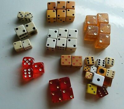 LOT of 43 VINTAGE DICE Red Ivory White Gold Casino Game Wood Bakelite Lucite
