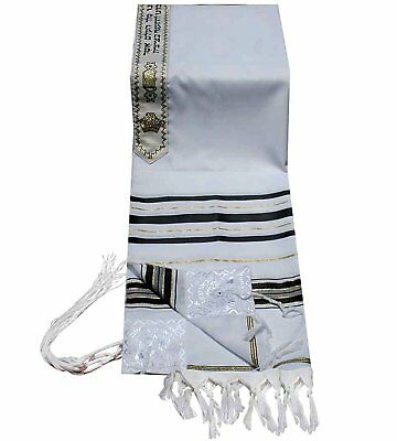 "Acrylic Tallit (imitation Wool) Prayer Shawl in Black and Gold Size 24"" L X 72"""