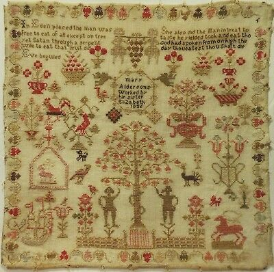 Mid 19Th Century Adam & Eve & Motif Sampler By Mary Or Elizabeth Alderson - 1846
