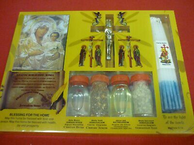 Nazareth Market Store Set of Holy Water,Soil,Oil,Insence Holy Candle Mary Icon