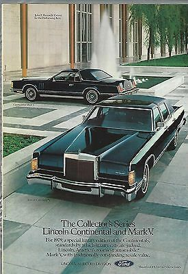 1979 LINCOLN CONTINENTAL advertisement, with Continental Mark IV too, Lincoln ad