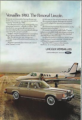 1980 Lincoln VERSAILLES advertisement, Lincoln ad, last year of the Versailles