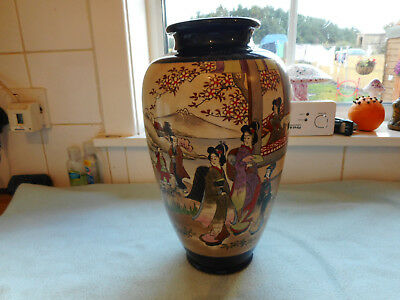 002 Japanese baluster shape Satsuma vase painted with two large panels of ladies