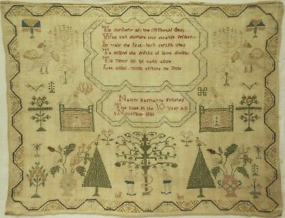 Early 19Th Century Adam & Eve, Motif & Verse Sampler By Nanny Redmayne - 1826