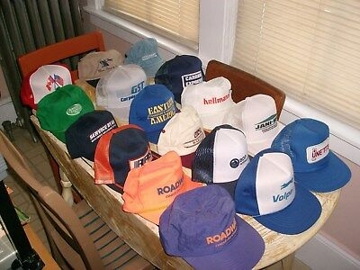 Baseball caps Trucker hats lot 17 Roadway RPS and Variety Vintage Carry case