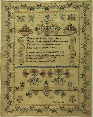 Early 19Th Century Motif & Verse Sampler - Unsigned And Dated 1831