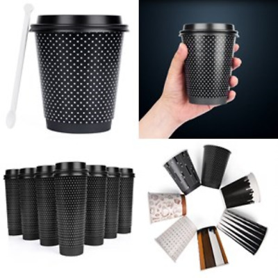 Paper Coffee Hot Cups With Lids Sleeves Stirrer 16oz Pack of 50 Disposable Cup