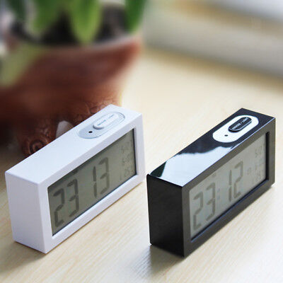 Digital Backlight LCD Display Desk Alarm Clock Snooze Thermometer Calendar