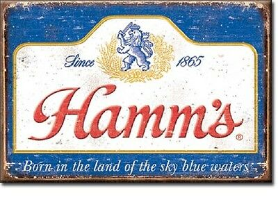 """Hamm's 1865 Born in the Land of Sky Blue Waters Miniature 2"""" X 3"""" Sign Magnet"""