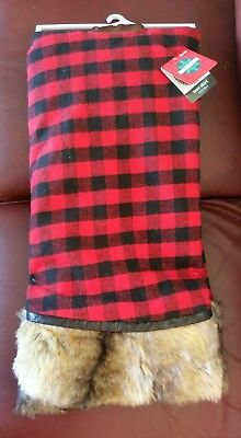 buffalo plaid 52 christmas tree skirt fur trimmed rustic lodge red