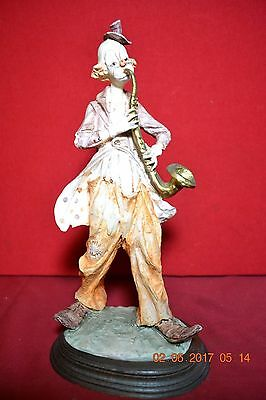 Hand Painted Pucci Arnart Musician Saxaphone Player Clown Figurine