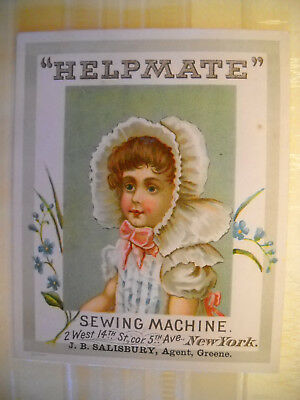 HELPMATE SEWING MACHINE Victorian Antique trade card CHROMOLITHO girl in bonnet