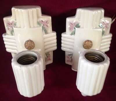 Matched Pair Of Art Deco Vintage Porcelier Porcelain Wall Light Sconces
